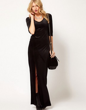 Image 1 ofLove Velvet Maxi Dress with Thigh Split