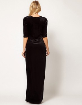 Image 2 ofLove Velvet Maxi Dress with Thigh Split
