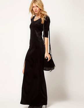 Image 4 ofLove Velvet Maxi Dress with Thigh Split