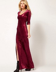 Love Velvet Maxi Dress with Thigh Split