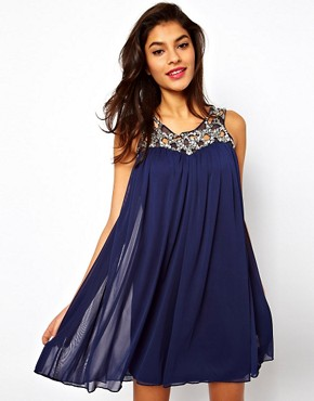 Image 1 ofASOS Swing Dress With Jewelled Neck
