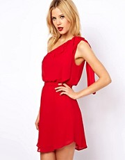 Mango Drape One Shoulder Dress