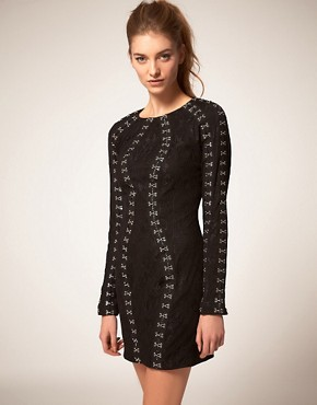 Image 1 ofASOS Lace Dress with Hook &amp; Eye Detail