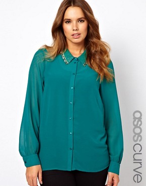 Image 1 of ASOS CURVE Blouse With Embellished Collar
