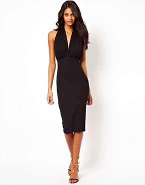 Image 4 ofASOS Midi Bodycon Dress With Halter Neck