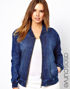 Image 1 ofASOS CURVE Exclusive Bomber In Denim