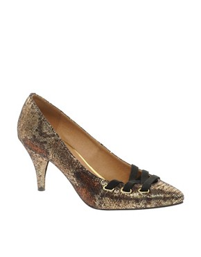 Image 1 ofASOS SPELLBOUND Metallic Pointed Heels