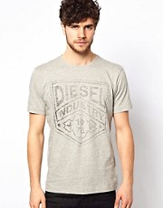 Camiseta con estampado de escudo con logo T-Industry de Diesel