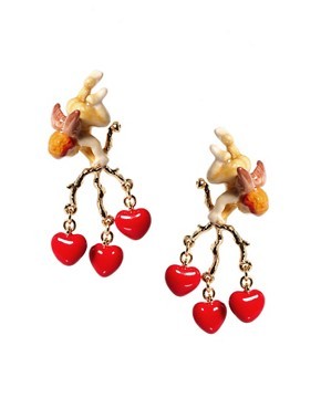 Image 1 ofDisaya Gold With Love Cupid Drop Earrings
