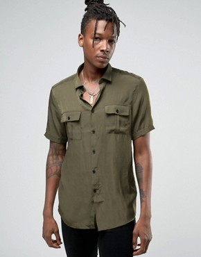 ASOS Military Shirt In Khaki Viscose In Regular Fit