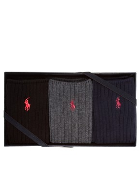 Image 1 ofPolo Ralph Lauren Gift Ribbed Three Pack Socks