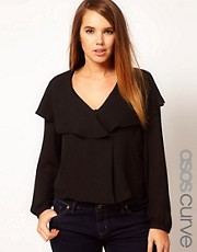 ASOS CURVE Blouse With Waterfall &amp; Wrap