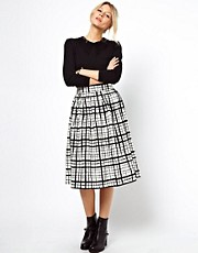 ASOS Midi Skirt in Check Print