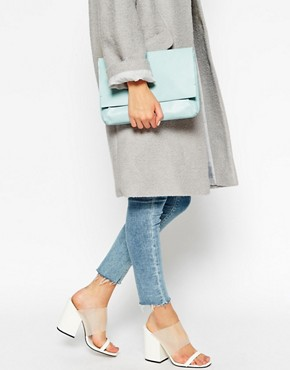 ASOS Unlined Soft Leather Flap Over Clutch Bag
