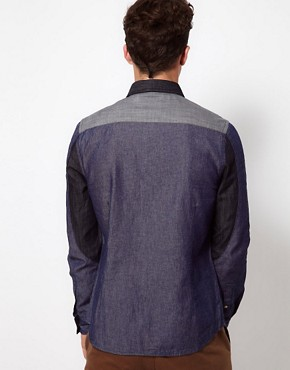 Image 2 ofASOS Denim Shirt With Panel Detailing