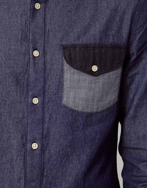Image 3 ofASOS Denim Shirt With Panel Detailing