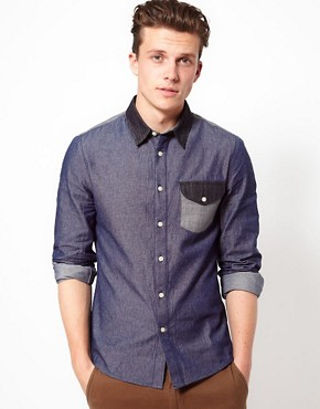Image 1 ofASOS Denim Shirt With Panel Detailing