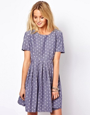 Image 1 of&#160;ASOS Smock Dress With Embroidered Spot In Chambrey