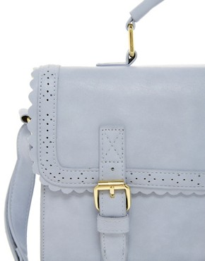 Image 4 ofASOS Satchel Bag With Scallop Trim And Buckles