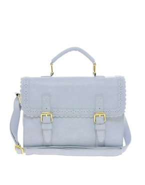 Image 1 ofASOS Satchel Bag With Scallop Trim And Buckles