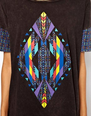 Image 3 ofASOS T-Shirt with Acid Wash Aztec Diamond