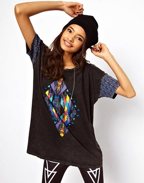 Image 1 ofASOS T-Shirt with Acid Wash Aztec Diamond