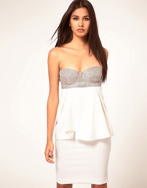 Image 1 ofAqua Portman Strappy Bodice and Peplum Dress