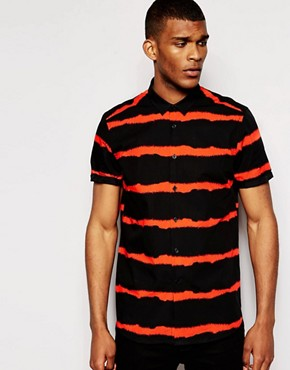 ASOS Shirt In Short Sleeve With Blurred Stripe