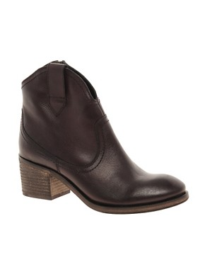Image 1 ofASOS ADDISON Leather Western Ankle Boots with Mid Heel