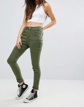 Liquor & Poker High Rise Ankle Skinny Jeans with Ripped Knee