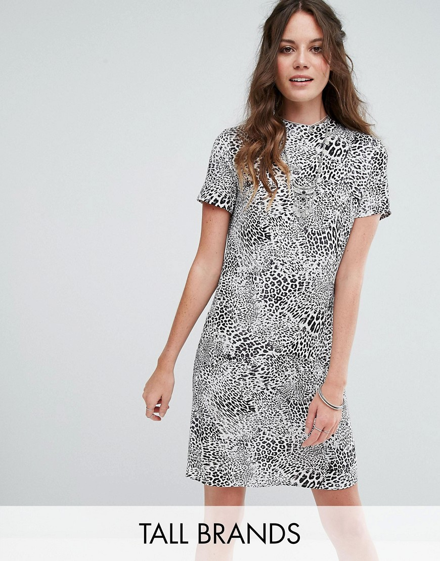 Glamorous Tall High Neck Shift Dress In Monochrome Leopard - Grey leopard