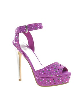 Image 1 ofASOS HEARTBREAK Embellished Platform Sandals