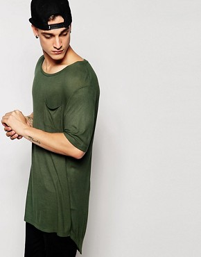 ASOS Super Longline T-Shirt With Step Hem in Rib