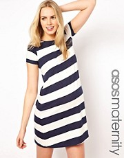 ASOS Maternity Jersey Swing Dress In Stripe