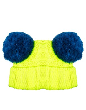 Image 2 ofPiers Atkinson For ASOS Cartoon Eyes Pom Pom Beanie