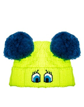 Image 4 ofPiers Atkinson For ASOS Cartoon Eyes Pom Pom Beanie