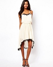 Coco's Fortune Belted Dress With Lace Trim