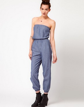 Image 1 ofAmerican Apparel Chambray Jumpsuit