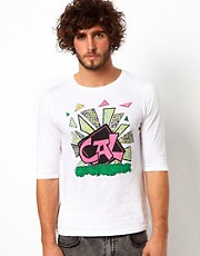 ASOS 3/4 Sleeve T-Shirt With 90s California Surf Print