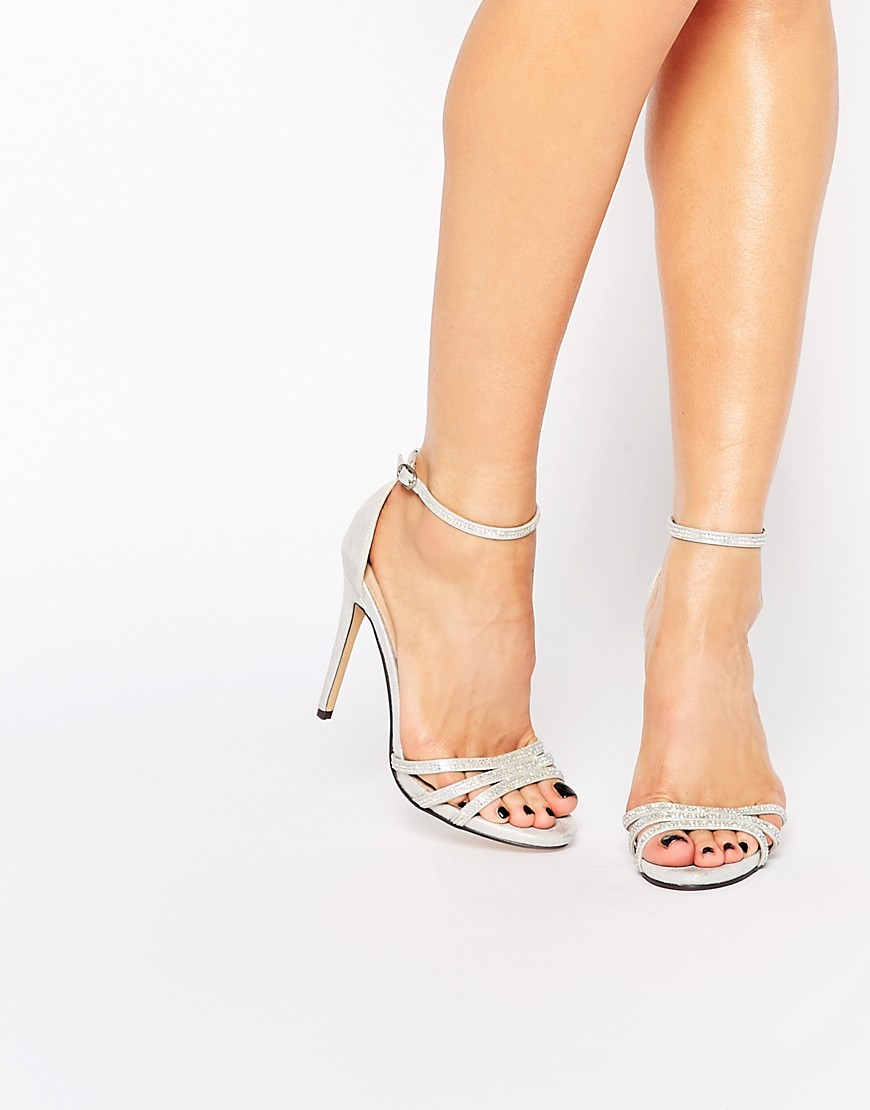 True Decadence Silver Embellished Barely There Heeled Sandals - Silver
