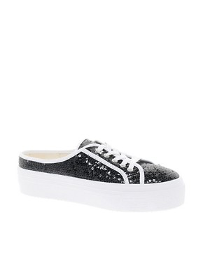 Image 1 ofKG Mango Glitter Backless Flatform Trainers