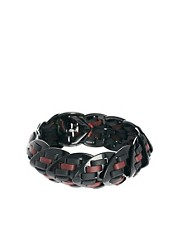 Giles &amp; Brother Nara Armour Thin Black Lacquer Braclet with Burgundy &amp; Black Leather
