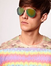 ASOS Aviator Sunglasses with Blue Mirror Lens
