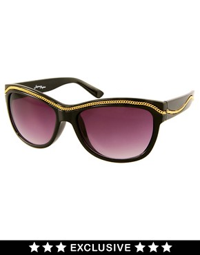 Image 1 ofJeepers Peepers Exclusive To ASOS Black Orla With Chain Detail Sunglasses