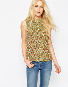 ASOS Sleeveless Blouse In Ditsy Print With Shirring Detail