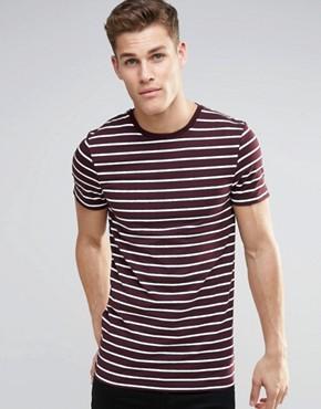 ASOS Longline Muscle T-Shirt In Stripe In Oxblood