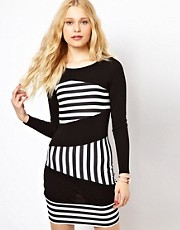 River Island Column Stripe Panel Mini Dress