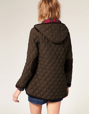 Image 2 ofASOS Quilted Jacket With Hood And Check Lining