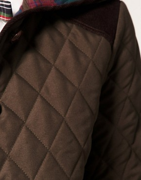 Image 3 ofASOS Quilted Jacket With Hood And Check Lining