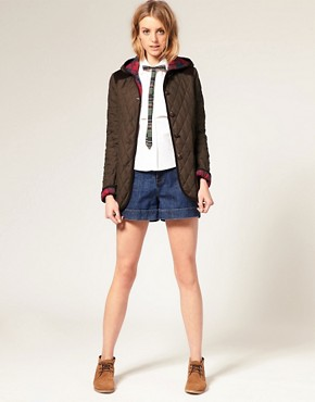 Image 4 ofASOS Quilted Jacket With Hood And Check Lining